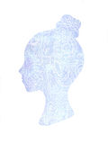 Hand drawn illustration. Ethnic stylized patterned profile of girl  on white background. Floral design. Stock Photos