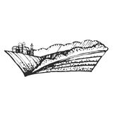 Hand drawn illustration of farmhouse and hills ,EPS 10. Royalty Free Stock Photos