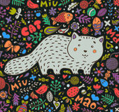 Hand-drawn illustration. A fat gray cat surrounded by flowers, fish, toys and other feline staff. Doodle style. On a Royalty Free Stock Photography