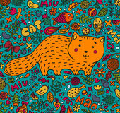 Hand-drawn illustration. A fat red cat surrounded by flowers, fish, toys and other feline staff. Doodle style. On a Stock Image