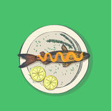 Hand drawn illustration - fish with lemon on the dish. Vector.  Stock Photography