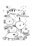 Fish collection. Hand drawn, , illustration of fishes Stock Image