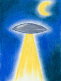 Funny hand drawn illustration of flying saucer Royalty Free Stock Photography