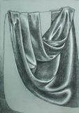 Hand drawn illustration of folded satin curtain Stock Photo