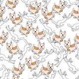 Hand Drawn Illustration. French Bulldog, Сats. Paris theme. Royalty Free Stock Photography
