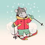 Mouse. Hand-drawn illustration of funny cartoon Mouse with skis.   illustration. Vector Stock Image