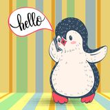 Penguin. Hand-drawn illustration  with funny cartoon penguin with the phone.  Vector Royalty Free Stock Images