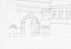Hand drawn illustration of gates on wall Royalty Free Stock Image