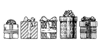 Hand drawn illustration of gift boxes Stock Photo