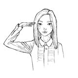 Hand drawn illustration with girl. Line art. Retro. Sketch picture. girl in a shirt with a hand on the head Royalty Free Stock Images