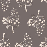 Hand drawn illustration of grapes, seamless pattern on gray background Royalty Free Stock Image
