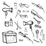 Hand drawn illustration -  Hairdressing tools (scissors, combs, styling). Hand drawn illustration -  Hairdressing tools (scissors, combs, styling,  dryer Royalty Free Stock Images