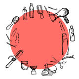 Hand drawn illustration -  Hairdressing tools (scissors, combs, styling). Vector Stock Image