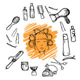 Hand drawn illustration - Hairdressing tools (scissors, combs, styling) and woman with hair rollers. Vector royalty free illustration