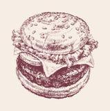 Hand Drawn Illustration of Hamburger Stock Photo