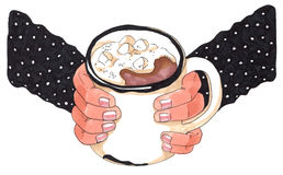 Hand drawn illustration of hands holding a mug with hot chocolate Royalty Free Stock Photography