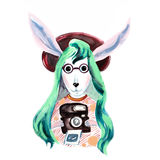 Hand drawn illustration of hare dressed up in fashionable style. Royalty Free Stock Images