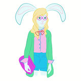 Hand drawn illustration of hare girl dressed up in cool clothes. hare hipster. Magazine fashion look. Vector poster Royalty Free Stock Photos