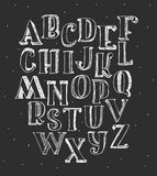 Hand drawn  illustration with hatch and brush. Letters sequence from A to Z, good fo. Set of white 3d alphabet on blackboard. Hand drawn  illustration with Stock Image