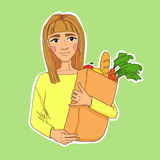 Hand drawn illustration. Healthy eating secret of beauty. Young. Beautiful woman holding a bag of fruits and vegetables. Vector Royalty Free Stock Photo