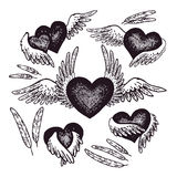 Hand-drawn illustration of heart with angel wings. Vector illustration. Vintage art. Stock Photo
