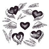 Hand-drawn illustration of heart with angel wings. Vector illustration. Vintage art. Stock Image
