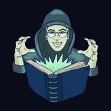 Hand drawn illustration of Hooded writer man wearing glasses in green light of magic spell book. Isolated vector on a dark background Stock Photos