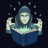 Hand drawn illustration of Hooded writer man wearing glasses in green light of magic spell book. Isolated vector on a dark background Royalty Free Stock Photos