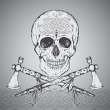 Hand drawn illustration of human skull, two tomahawks and ethnic Royalty Free Stock Image