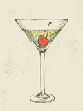 Hand drawn illustration of iced tropical cocktail. Royalty Free Stock Images