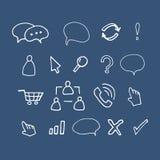 Hand drawn  illustration icons. Hand drawn  illustration set Isolated on blue background Stock Images