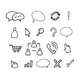 Hand drawn  illustration icons. Set Isolated on white background Royalty Free Stock Images