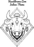 Hand drawn Illustration of indian cow Stock Photos
