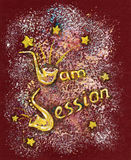 Hand Drawn Illustration with Jam Session Text Stock Image
