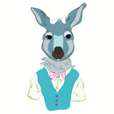 Hand drawn illustration of kangaroo man dressed up in cool clothes., vest and bow tie. hipster. Magazine fashion. Vector Stock Photo