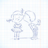 Hand drawn Illustration of kissing boy and girl Royalty Free Stock Images