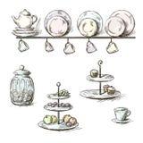 Hand drawn illustration of kitchen utensils Stock Photos