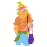 Hand drawn illustration of Lion man dressed up in cool casual clothes. Hipster animal. Magazine fashion look. Vector Royalty Free Stock Photography