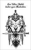 Hand drawn illustration of lion sketch Stock Photography