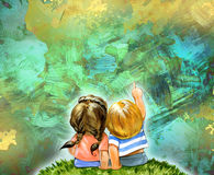 Hand drawn illustration of a little girl and boy Stock Photography
