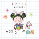 Hand drawn illustration of a little girl painting Easter eggs stock illustration