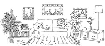 Hand drawn illustration of a living room Royalty Free Stock Image