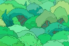 Hand drawn illustration.Magic forest.Vector Royalty Free Stock Image