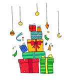 Hand drawn illustration.Magic gifts.Vector. Illustration of gift boxes. Holidays And Celebrations Stock Images