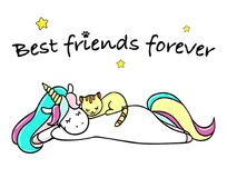 Hand drawn illustration of a magic unicorn and cat. Best friends forever. Vector isolated illustration.