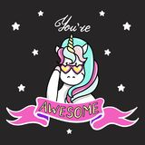 Hand drawn illustration of magic unicorn. You Are Awesome text. Can be used for greeting, birthday and invitation card. Royalty Free Stock Photography