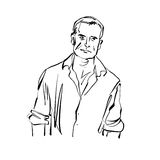 Hand drawn illustration of a man, black and white drawing. Stock Photography