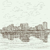 Hand-drawn cityscape Royalty Free Stock Image