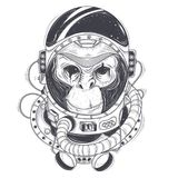 Hand drawn illustration of a monkey astronaut, chimpanzee in a space suit. In the style of engraving. Print for T-shirts, template, sketch tattoo, design Royalty Free Stock Photo
