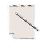 Hand drawn illustration of a note and pencil  on a white. Hand drawn graphic illustration of a note and pencil  on a white background Stock Image